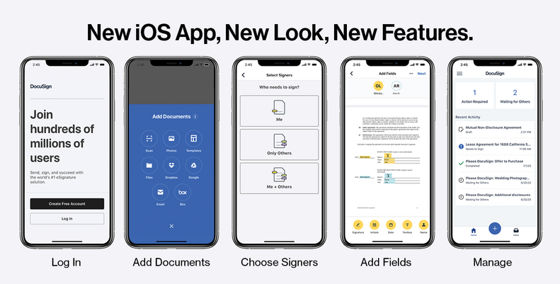 Five steps to send and manage documents in the DocuSign iOS Mobile App.