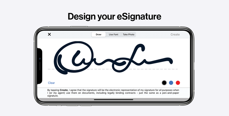 DocuSign eSignature customization options to draw or upload your own signature in the iOS mobile app.