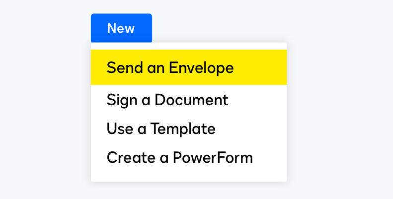 Options to Send, Sign, Use a Template, and Create a Powerform