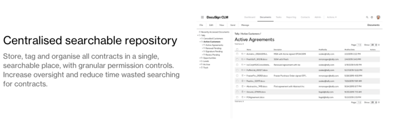 DocuSign CLM searchable repository