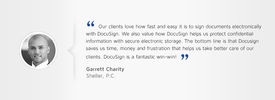 Customer testimonial: The bottom line is that DocuSign saves us time, money, and frustration that helps us take care care of our clients.""