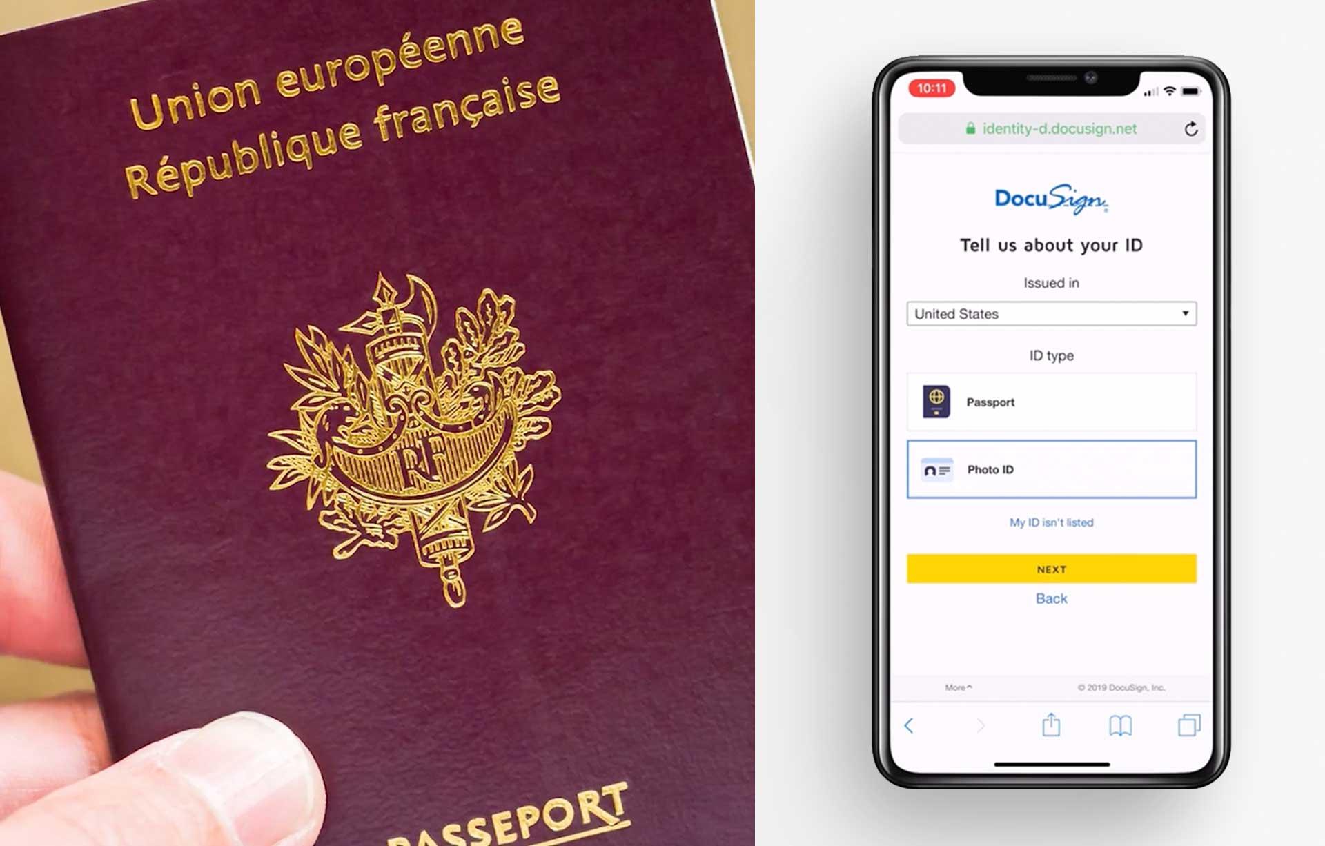 Zwei Smartphones, eines mit Anleitungen zum Hochladen des Ausweises und das andere für die Angabe der Ausweisinformationen.