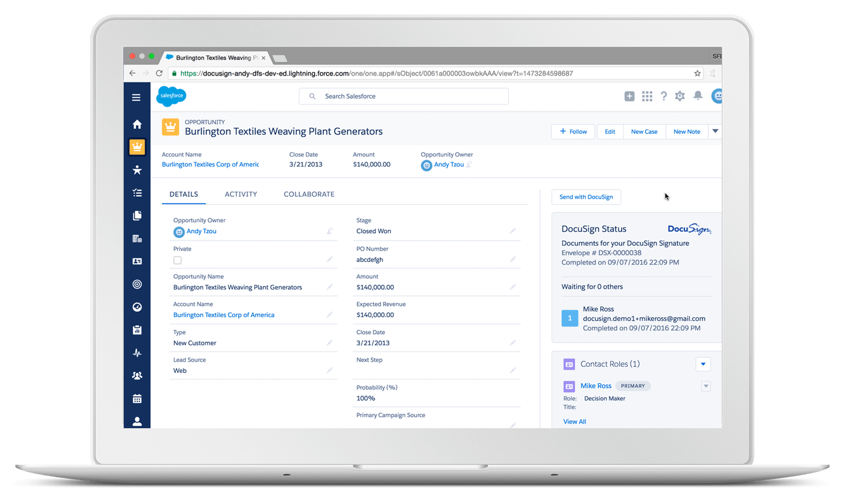 Salesforce Lightning and DocuSign