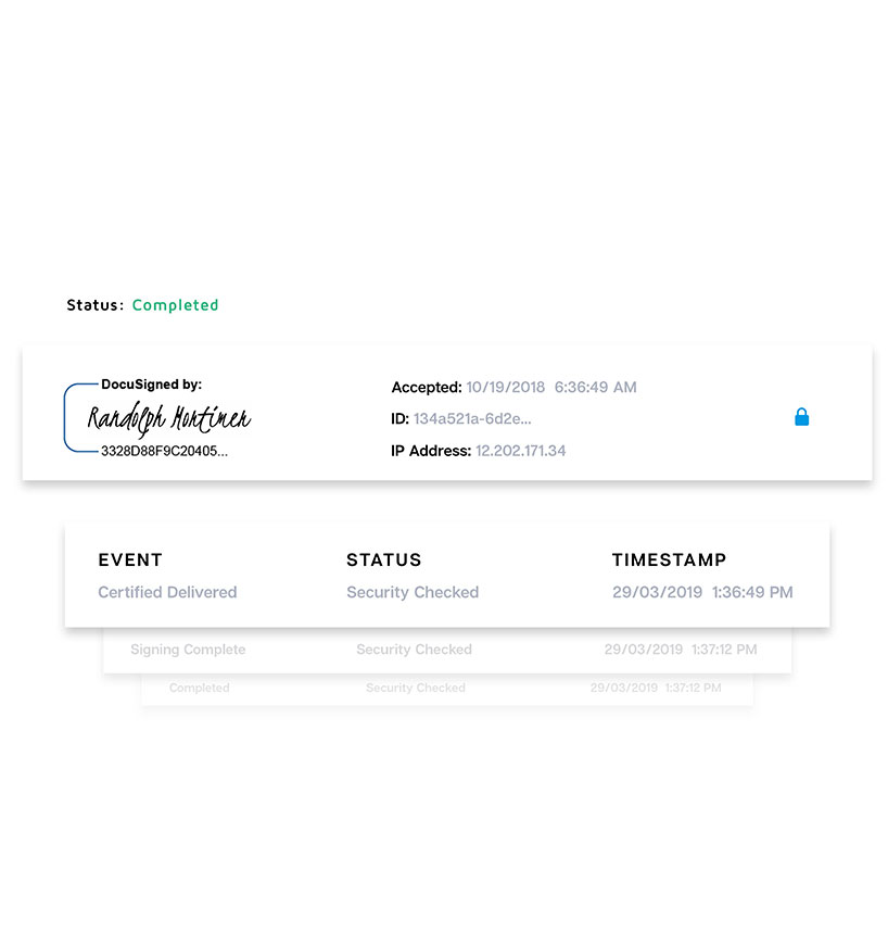 Screenshots of a completed electronic signature by DocuSign, detailing security status, timestamp, and certification of compliance.