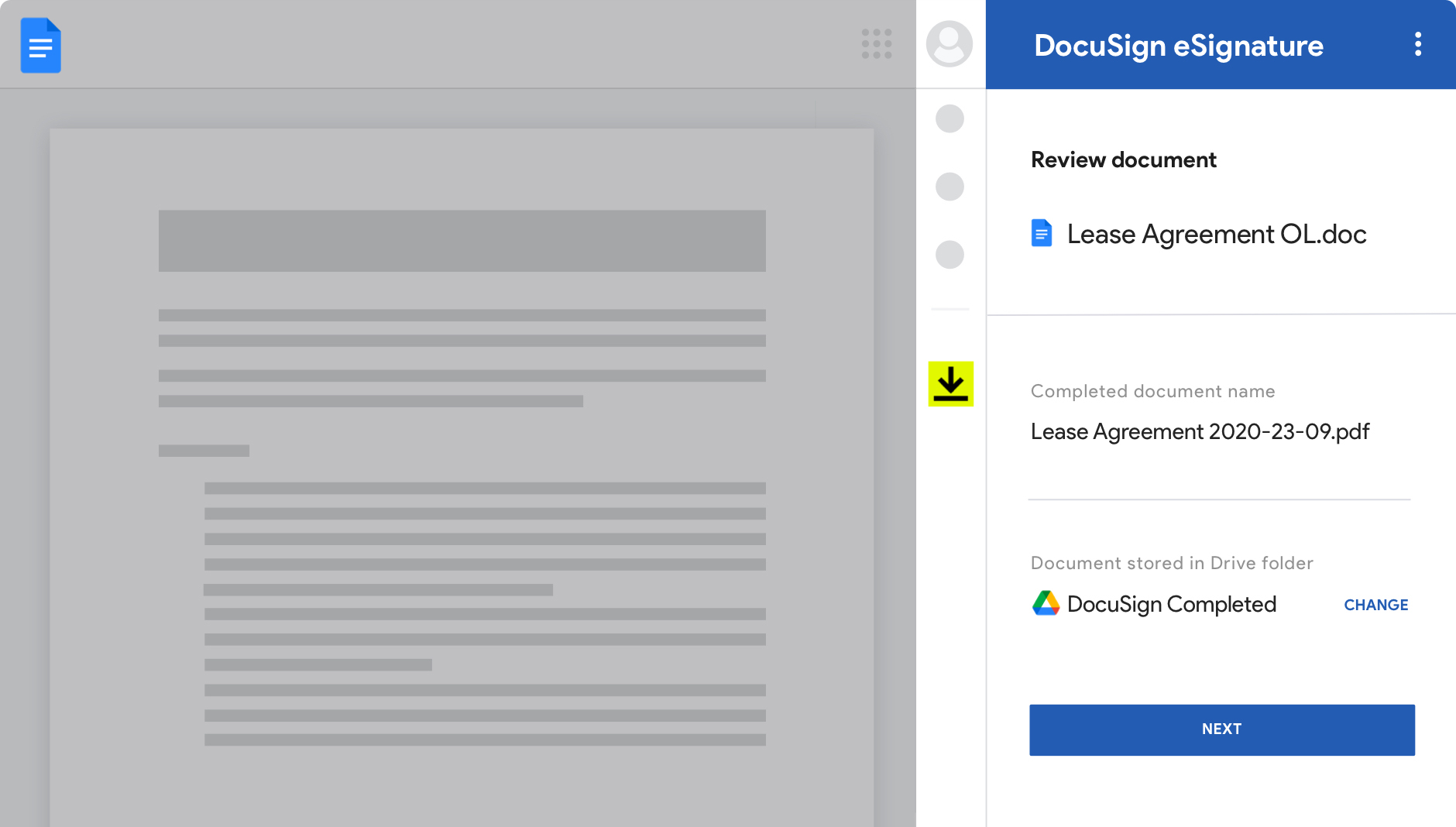 Google Docs with DocuSign eSignature showing agreements and their status.