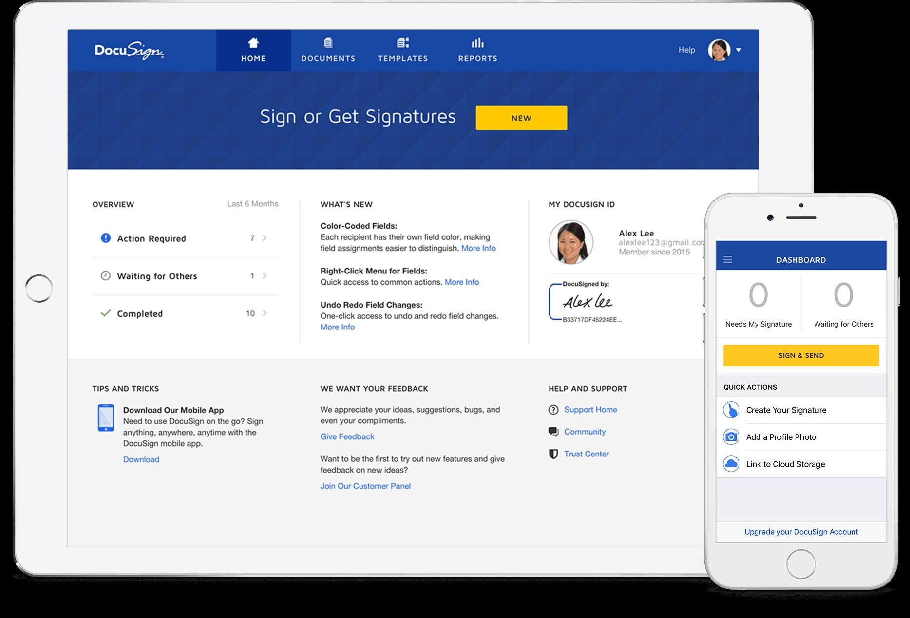 DocuSign desktop e produtos móveis