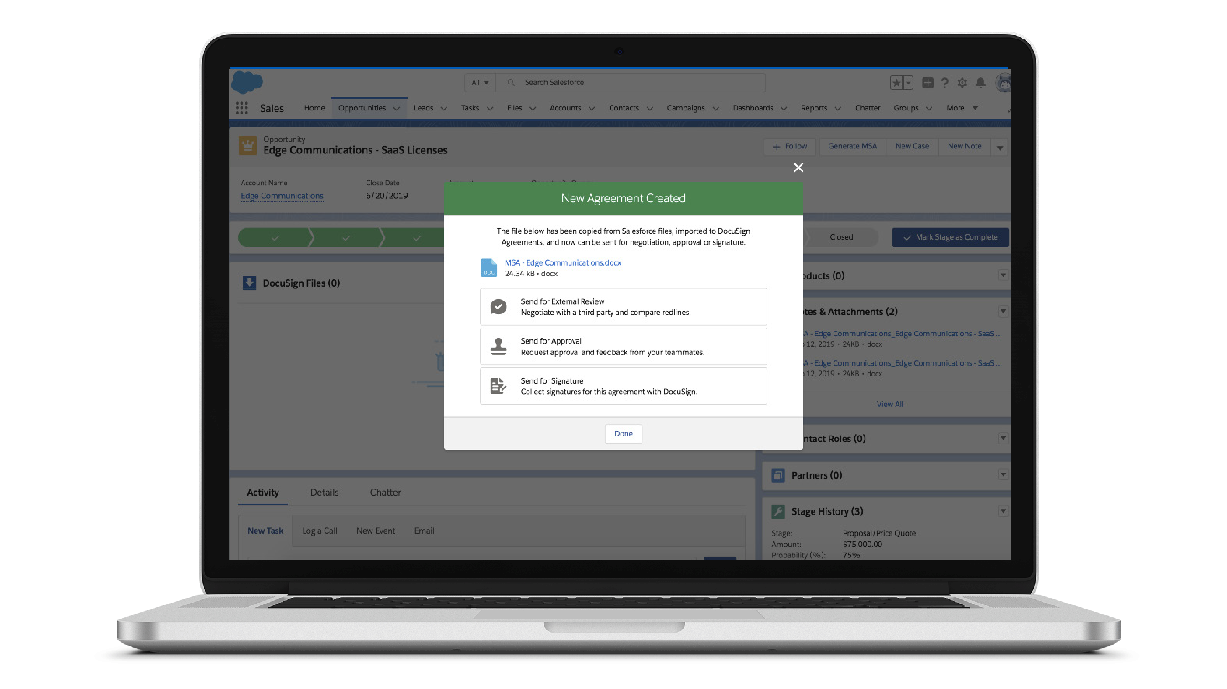 Screenshot of the Negotiate for Salesforce interface
