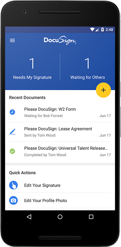 Free electronic signature app docusign mobile for Best document signing software