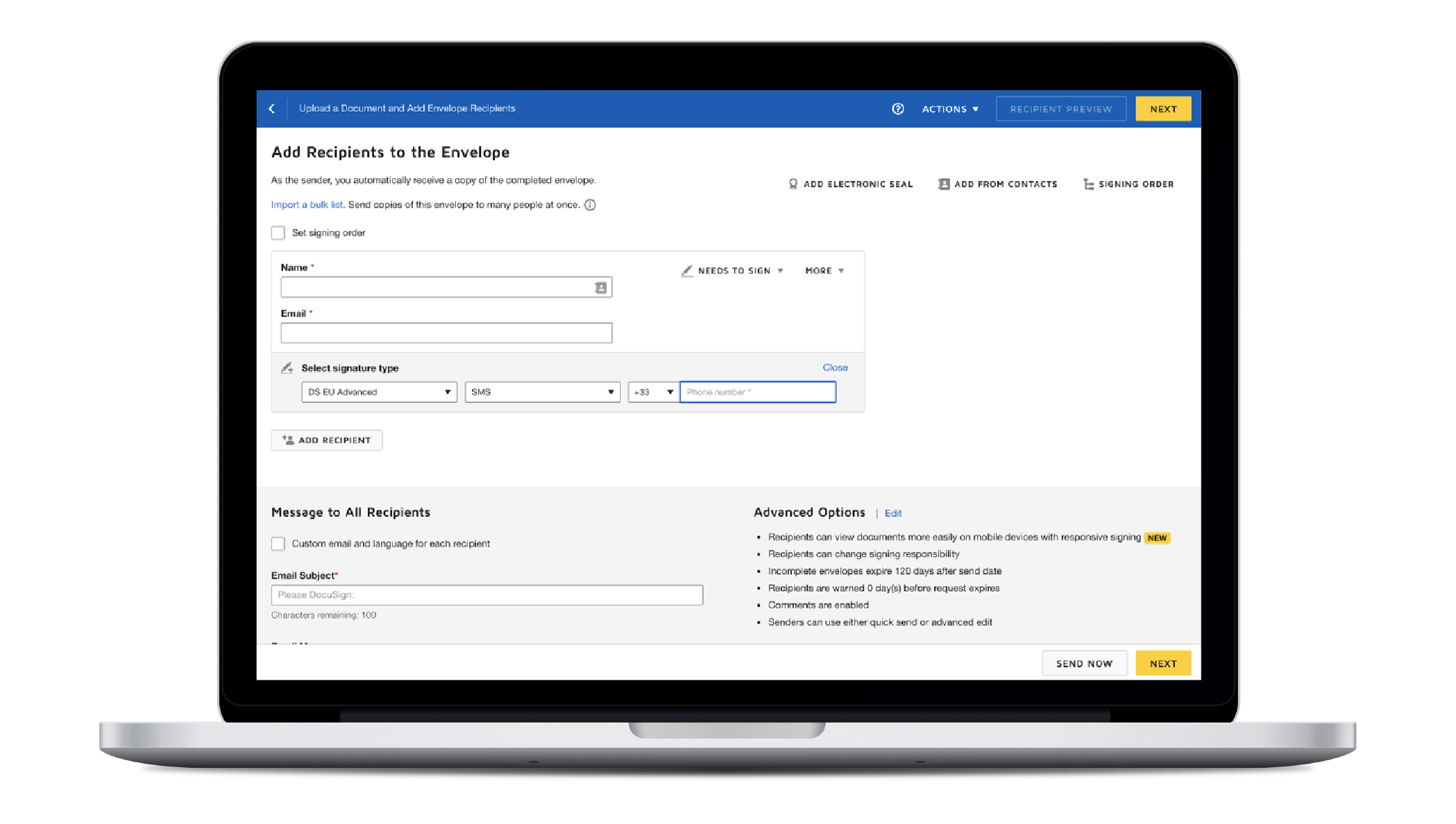 Image of a laptop with the screen showing how to add a recipient to a DocuSign envelope