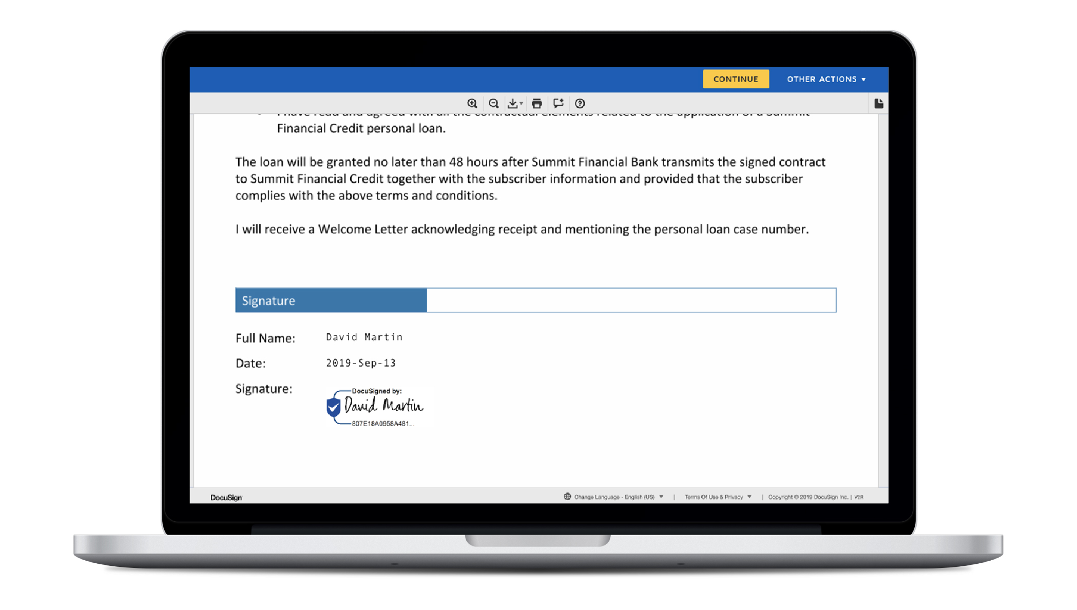 Image of a laptop with the screen showing where to sign a DocuSign Envelope