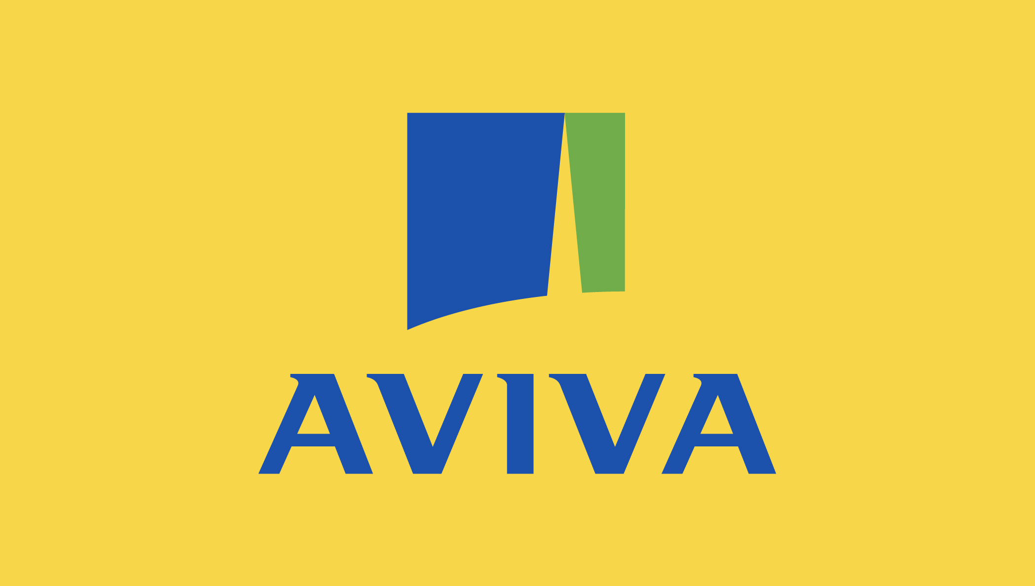 Image of the Aviva logo on a yellow background