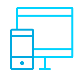 Icon of a desktop monitor and a mobile phone.