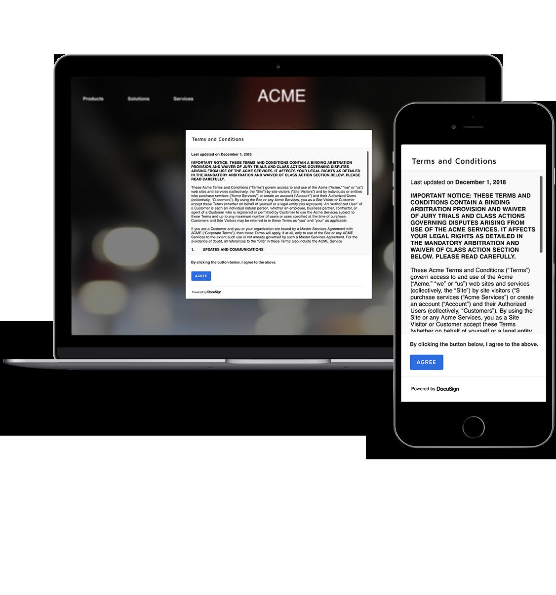 Eine Servicevereinbarung in einem Leuchtkasten in einem Webbrowser.
