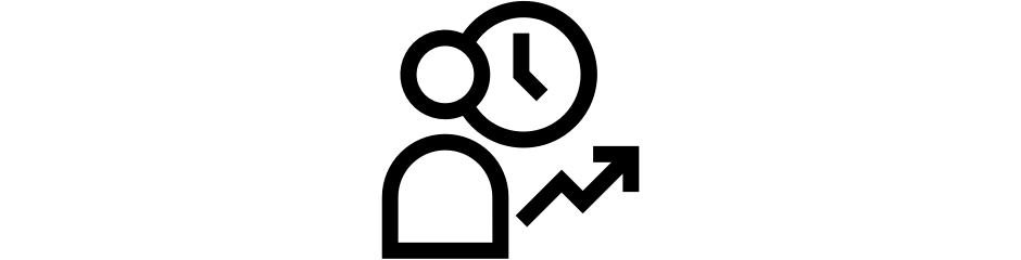 Person icon with a clock and an arrow trending upward