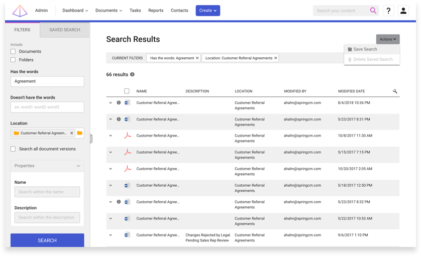 A screen capture of the search and filter functionality for contracts in SpringCM.