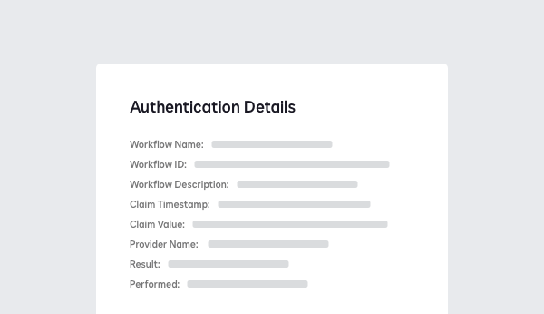Screenshot showing authentication details including the workflow, timestamp and result.