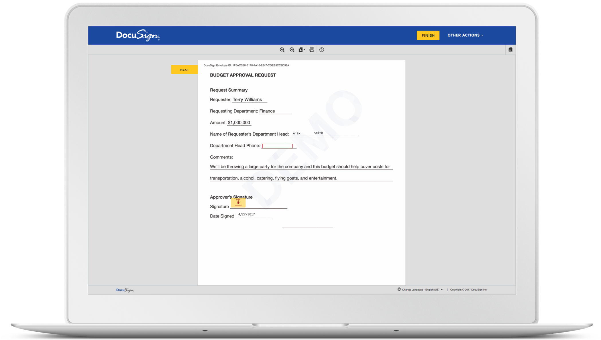 DocuSign document signing demo