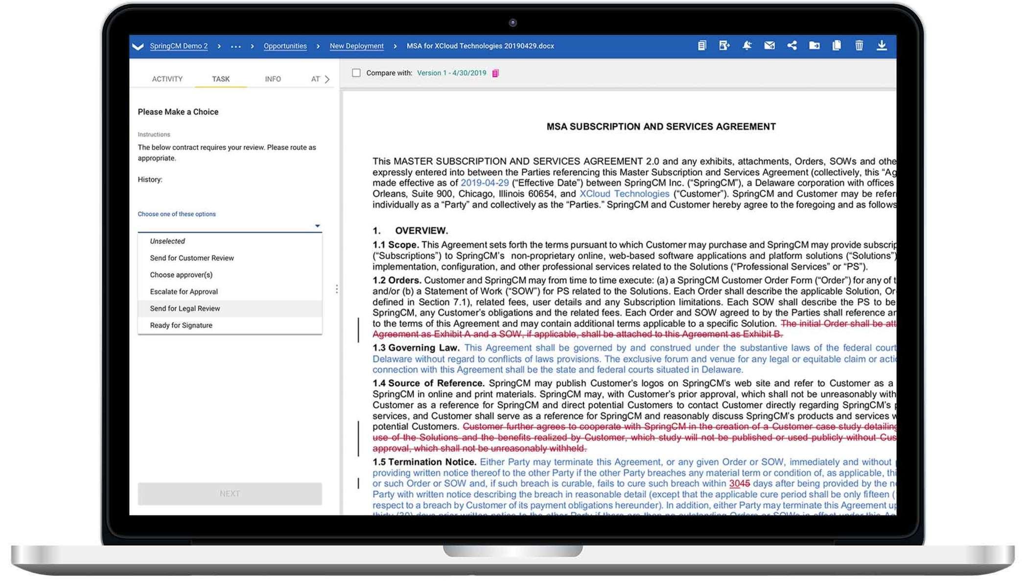 A laptop showing a screenshot of DocuSign CLM.