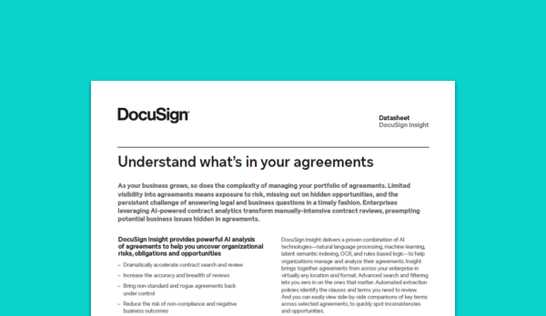 Image of DocuSign Insight datasheet for contract analytics and contract management.