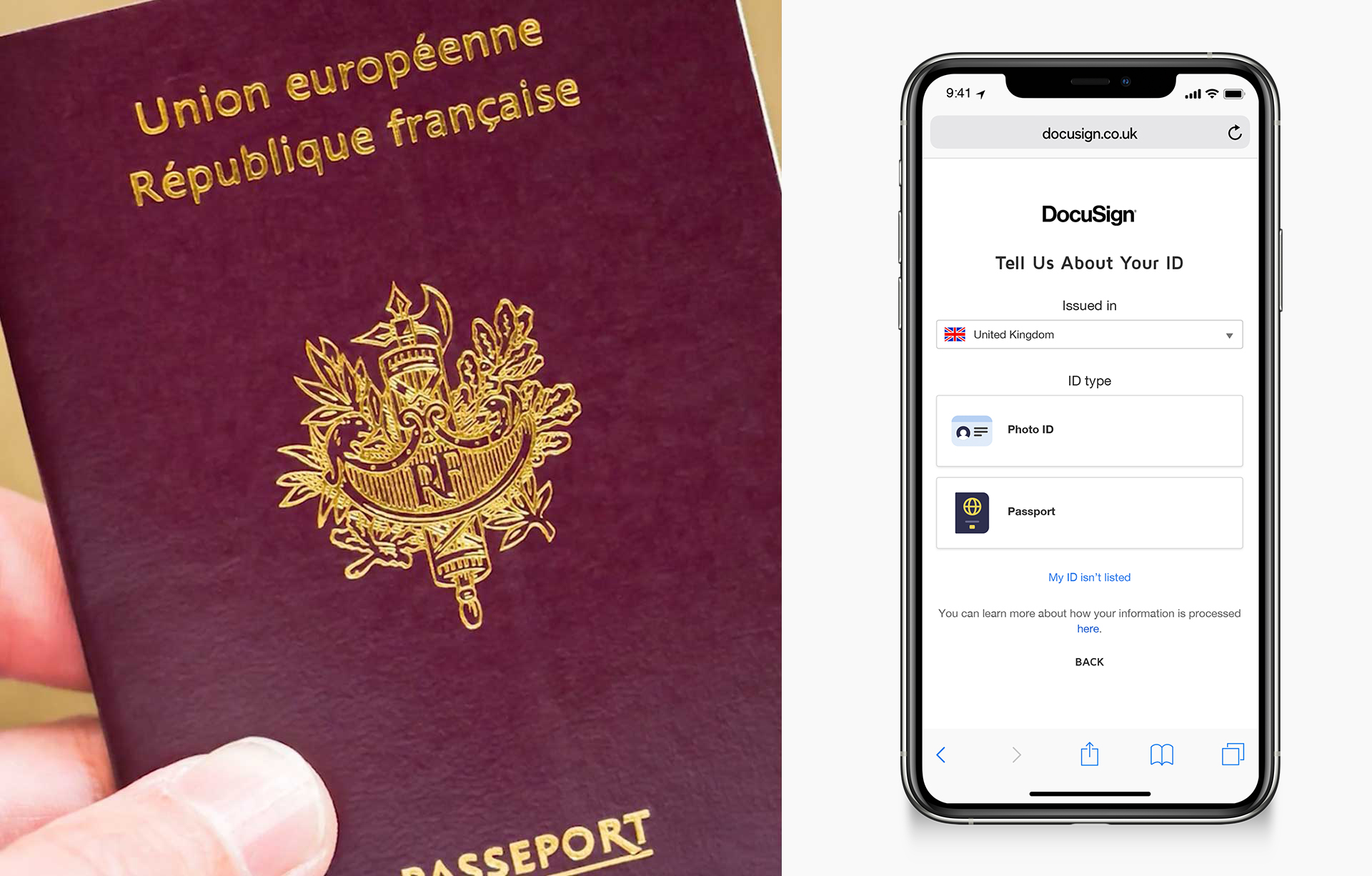 "A split image showing a hand holding a passport on the left and on the right a phone prompting to ""Tell us about your ID"""