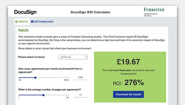Screenshot of the ROI calculator tool