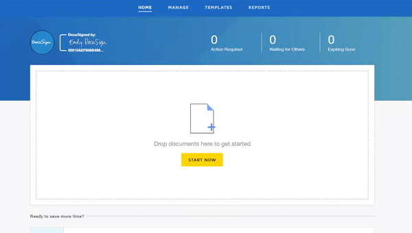 """DocuSign eSignature interface showing """"Drop your documents here"""""""