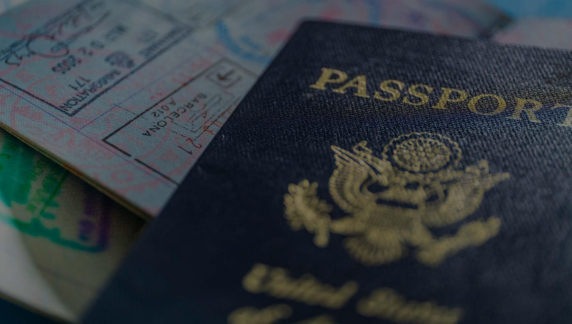 A passport and passport stamps.